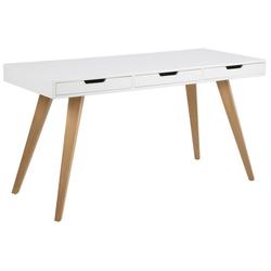 ebuy24 Schreibtisch Ester Schreibtisch mit 3 Schubladen in weiß mit ma