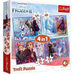 Trefl Puzzle 4in1 Puzzle 35/48/54/70 Teile - Frozen 2, Puzzleteile