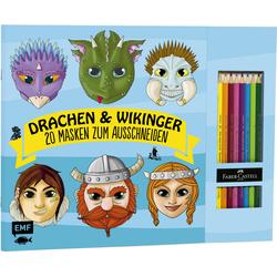 Drachen & Wikinger - 20 Masken zum Ausmalen und Ausschneiden als Buch von