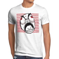 style3 Print-Shirt Herren T-Shirt Rage Trollface Comic Rageguy Facebook Meme 9gag Nerd Fuck Guy Fuu weiß M