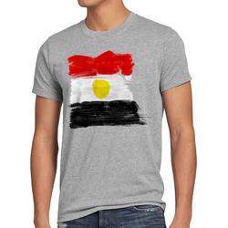 style3 Print-Shirt Herren T-Shirt Flagge Ägypten Fußball Sport Egypt WM EM Fahne grau XL