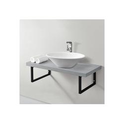 neu.haus Waschtisch, Waschtischplatte 100x45x30cm Waschtischkonsole mit Handtuchhalter betonfarben grau