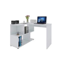 Woltu Schreibtisch, Eckschreibtisch mit Ablagen in Weiß