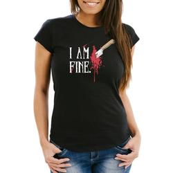 MoonWorks Print-Shirt Damen T-Shirt Halloween Wunde Messer I Am Fine Horror Fun-Shirt Stichwunde Moonworks® mit Print XXL