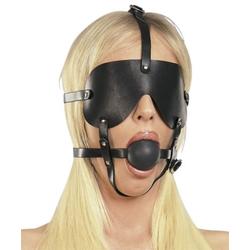 Bondage Leder Harness Mundknebel mit Augenmaske