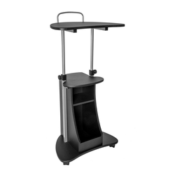 Sit To Stand Rolling Adjustable Height Laptop Cart with Storage Graphite - Techni Mobili