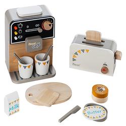 Kaffeemaschine und Toaster incl. Zubehör bunt