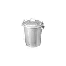 Curver Mülleimer Oscar Tonne Universal 7L klein mit Deckel Mini Mülltonne Abfalleimer Futtertonne silber