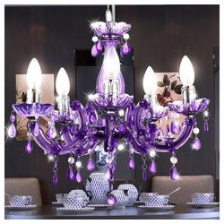etc-shop Kronleuchter, LED 15 Watt Hängeleuchte Hängelampe Kronleuchter Deckenbeleuchtung Innenbeleuchtung Lampe Luster chrom lila