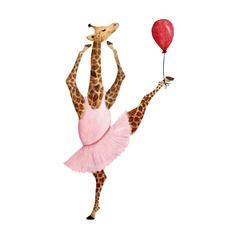 Leinwandbild »Ballerina Giraffe«, Bilder, 57742861-0 rosa 60x90 cm rosa