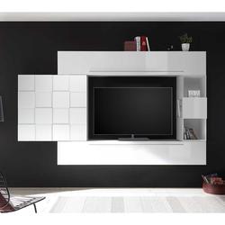 Hochglanz Wohnwand in Weiß hängend (4-teilig)