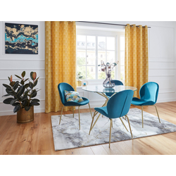 Vorhang CHENILLE, Leonique, Ösen (1 Stück) gelb 140 cm x 245 cm