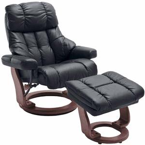 Leder Relaxsessel in Braun mit Hocker (2-teilig)