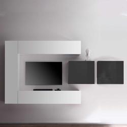 Hängende Wohnwand in Weiß Hochglanz und Anthrazit 250 cm breit (5-teilig)