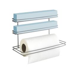 Metaltex Roll It Küchenrollenhalter, Wandrollenhalter mit drei Etagen für Folien und Küchenrollen, Maße: 32 x 14 x 22 cm