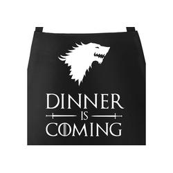 MoonWorks Grillschürze Grill-Schürze für Männer mit Spruch Grillen Dinner is coming Baumwoll-Schürze Grill-schürze Küchenschürze Moonworks®, mit kreativem Aufdruck