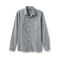 Chambray-Workerhemd, Classic Fit, Herren, Größe: S Normal, Grau, Denim, by Lands' End, Grau Chambray - S - Grau Chambray