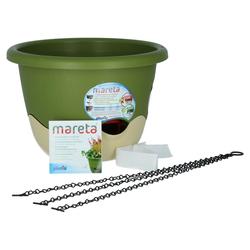 Plastia Mareta Blumenampel 30 Grün Elfenbein mit Erdbewässerung
