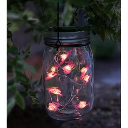 etc-shop LED Dekolicht, LED Solar Tisch Hänge Leuchte Einmach-Glas Garten Deko Flamingo Lichterkette Globo 33129-16_Flamingo
