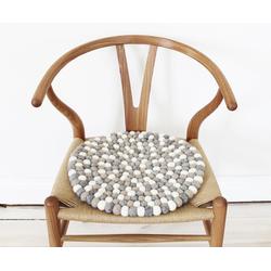 Wooldot Sitzkissen Mixed Color, rund, Filzkugelteppich, Wolle, auch als Set bestellbar grau