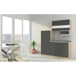 Respekta Economy Küchenzeile KB160ESGMI 160 cm, Grau mit Mikrowelle