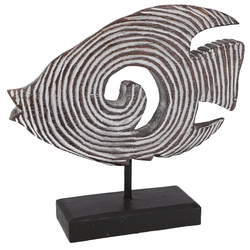 Guru-Shop Dekofigur Holzfigur Fisch auf Holzständer in 3 Größen 23 cm x 22 cm x 9 cm