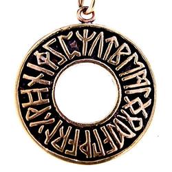Kiss of Leather Kettenanhänger Runen Futhark Bronze Runenring Ring Rune Alphabet ABC Anhänger