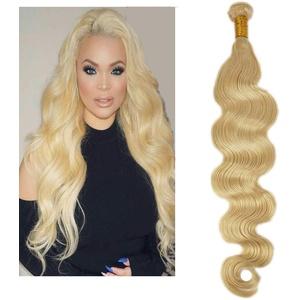 "Mila 10""/25cm Echthaar Tressen Blond Platine 613# Haarverlängerung Gewellt Body Wave Style 100% Remy Human Hair Weave Extensions 100g"