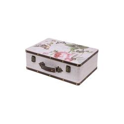 HMF Aufbewahrungsbox Vintage Koffer, aus Holz, Deko Rose, 38 x 26 x 13 cm