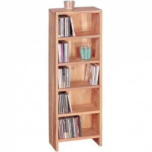 Wohnling CD Regal Massivholz Akazie Standregal 90 cm hoch CD-Aufbewahrung 5 Fächer Bücherregal natur Landhaus-Stil