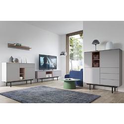 Feldmann-Wohnen Wohnwand INOX, (Set, 1 Lowboard + 1 Wandregal + 1 Sideboard + 1 Highboard), Gesamtmaße B/T/H: 375 cm x 40 cm x 121 cm