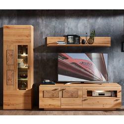 Moderne Wohnwand in Kernbuche Hirnholz Optik 255 cm breit (dreiteilig)
