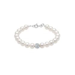 Elli Perlenarmband Perlen Kristalle 925 Silber 19 cm