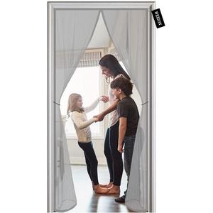 Fliegengitter Balkontür, 95 x 265 cm ,Der Magnetvorhang ist Ideal für die Balkontür, Kellertür Und Terrassentür, Kinderleichte Klebemontage Ohne Bohren - Grau