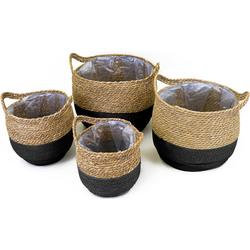 NOOR LIVING Aufbewahrungskorb (Set, 4 Stück), dekorative Aufbewahrung von verschiedenen Utensilien schwarz