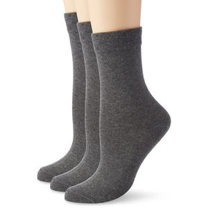Nur Die Damen ohne Gummi 3er Pack Socken, Blickdicht, Grau (graumelange 346), 35-38