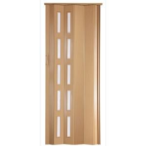 Falttür Schiebetür Tür Kunststofftür buche farben mit Fenster blickdicht Höhe 202 cm Einbaubreite bis 94 cm Doppelwandprofil Neu