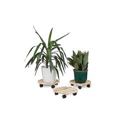 relaxdays Blumentopfuntersetzer Pflanzenroller 3er Set 33 cm x 7.5 cm x 33 cm
