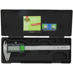 Burg-Wächter, Digitaler Messschieber mit Transportbox, 150 mm mit Feststellschraube, Messgenauigkeit 0,01 mm, PRECISE PS 7215, grau/grün