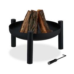 Feuerschale, Ø 60 cm, inkl. Schürhaken, Garten & Terrasse, Outdoor Feuerstelle, Feuerkorb, Stahl,