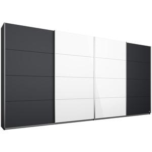Schwebetürenschrank - grau metallic-weiß Hochglanz - 361 cm