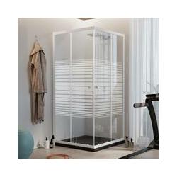 Quadratisch Duschkabine Weiß 90x90 CM H185 mit Milchglas Streifen Mod. Blanc