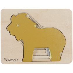 Kindsgut Puzzle, 5 Puzzleteile, Kindsgut Tier-Puzzle, Holz-Puzzle, Baby, Lern-Spiel, Löwe, Kinder-Puzzle, Motorik-Puzzle, Lern-Puzzle, für zuhause und unterwegs gelb