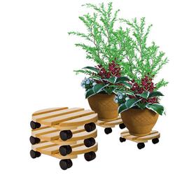BigDean Blumentopfuntersetzer Pflanzenroller rund Buchenholz massives Holz 30 cm bis 120 Kg Rolluntersetzer, 3-tlg.