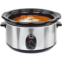 Syntrox Germany 4,5 Liter Edelstahl Slow Cooker mit Warmhaltefunktion, Sicherheitsglas und Entnehmbarer Keramikschüssel - Langsamgarer Schongarer