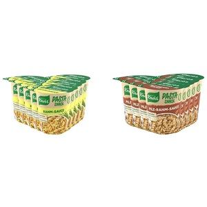 Knorr Pasta Snack Rahm Sauce leckeres Nudelgericht fertig in nur 5 Minuten - 8 x 62g Becher -, 496g & Pasta Snack Pilz-Rahm-Sauce leckeres Nudelgericht fertig in nur 5 Minuten - 8 x 63g Becher -, 504g