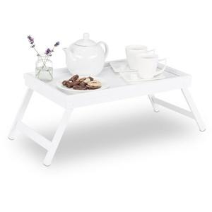 relaxdays Tabletttisch Betttablett Bambus weiß