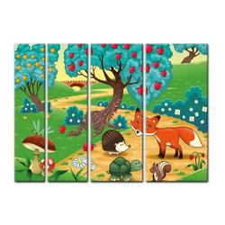 Bilderdepot24 Leinwandbild, Leinwandbild - Kinderbild - Tiere im Wald 180 cm x 120 cm