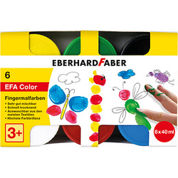 6 EBERHARD FABER EFA Color Fingerfarben farbsortiert 6x 40,0 ml
