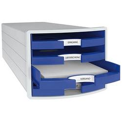 1 HAN Schubladenbox Impuls blau DIN C4 mit 4 Schubladen